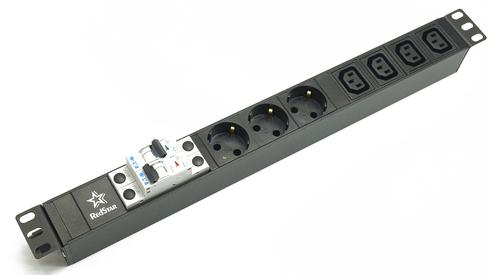 Блок  розеток  220В 3 Shuko+4 С13 с автоматом 2Х16А +клеммная колодка