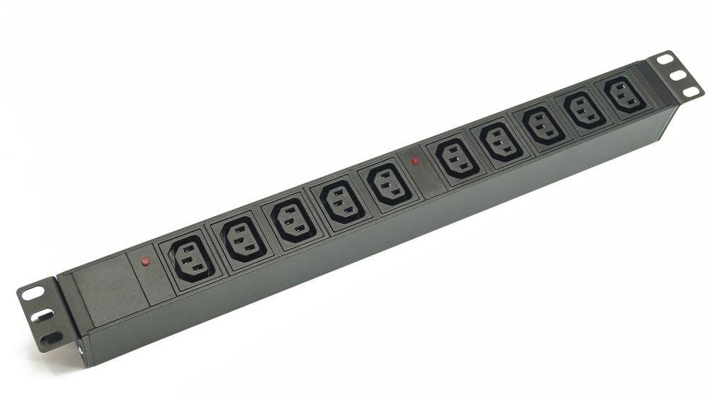 Блок  розеток 220В, 8 гн., 1U,  10A, с клеммной колодкой, без кабеля