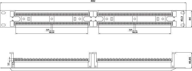 Кросс панель тип 110, 1U 100 пар