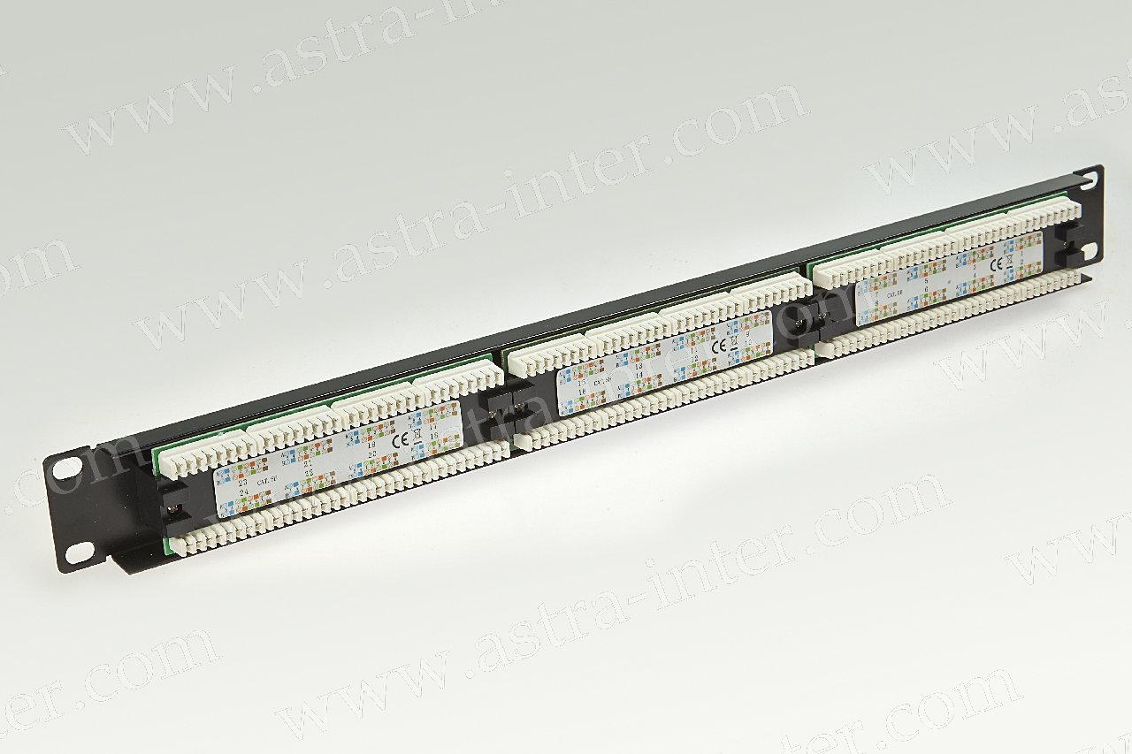 Патч-панель 24 порта RJ-45, кат.5е, тип KRONE (19