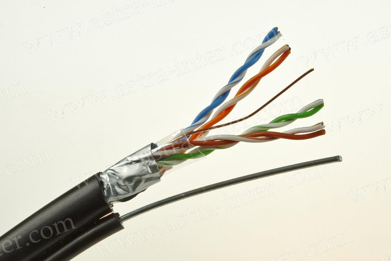 Кабель FTP 4х2х0.5 + экран наружная с тросом 305м Кат.5e LANMAX®