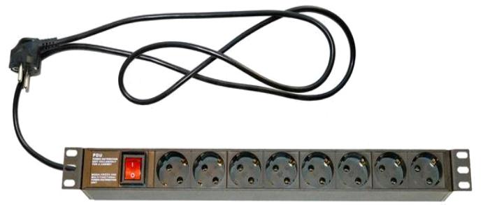 Блок  розеток 220В, 8 гн., 1U,  16A, встроенный кабель 3Х0.75мм  +выключатель