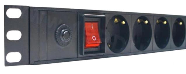 Блок  розеток 220В, 8 гн., 1U,  10A, автомат + выключатель, без кабеля
