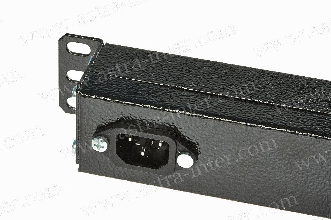 Блок  розеток 220В, 8 гн., 1U, 16A, черный + выключатель, без кабеля