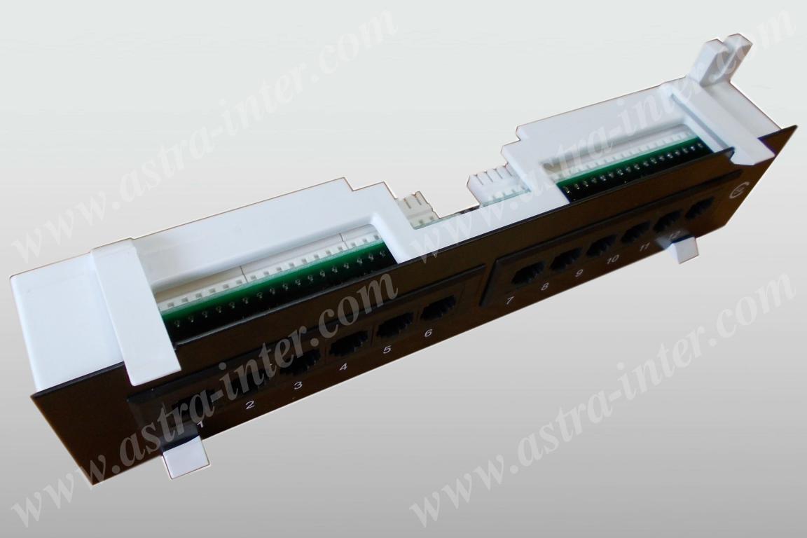 Патч-панель 12 портов RJ-45, кат.5е, тип KRONE 1U НАСТЕННАЯ